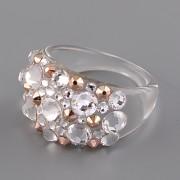 Prsten BUBBLE s kamínky Swarovski Elements - Crystal a Rose Gold - 59
