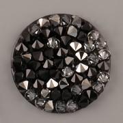 Crystal Rocks Swarovski Elements - Silver NIGHT+Jet na černém podkladu - 30mm
