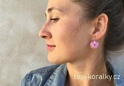 Růžové náušnice s kamínky Swarovski