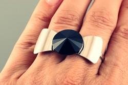 Prsten na dva prsty s Rivoli Swarovski Elements