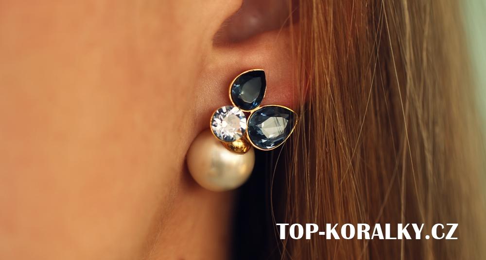 Náušnice s perlou a kamínky Swarovski VERY Bijoux 7bc0e6645a4