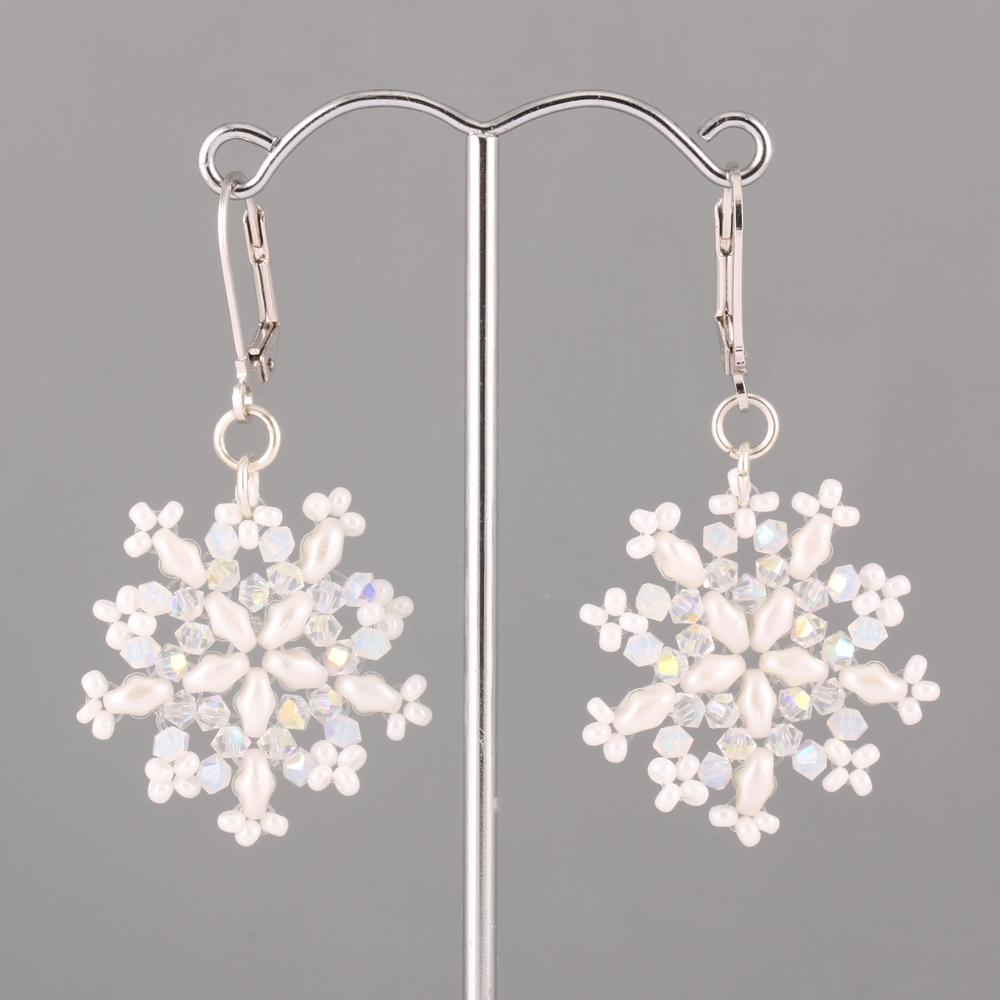 Snowflakes from Swarovski Beads and SuperDuo beads