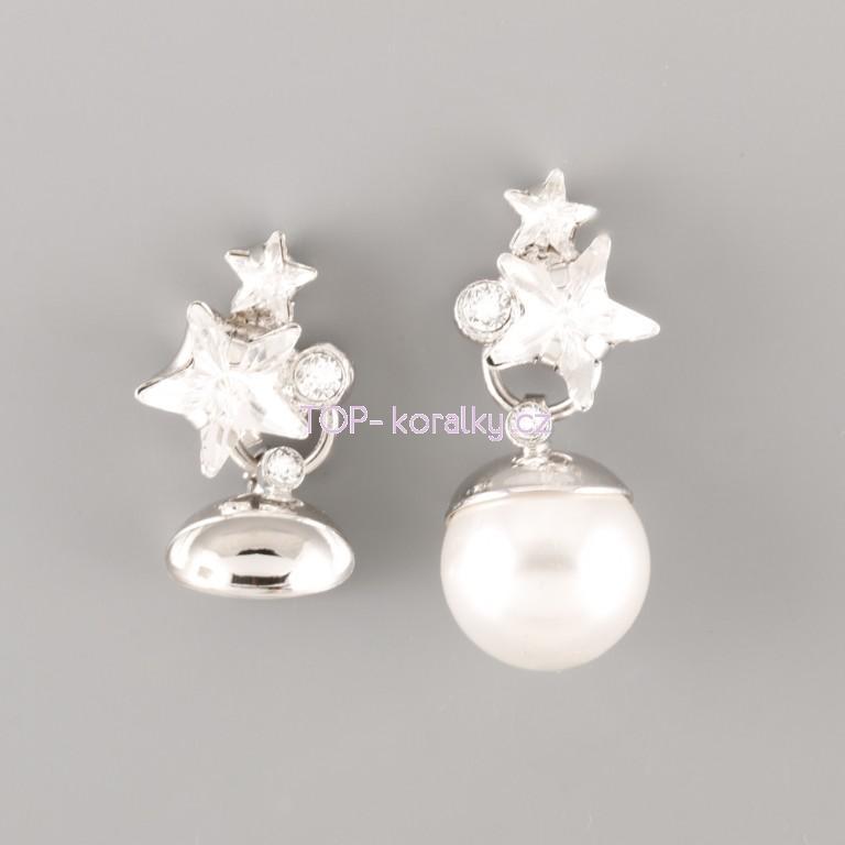 e42d43ec3 Náušnice HVĚZDIČKOVÉ pro Swarovski Perly - rhodium - Top-koralky.cz