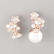 Náušnice KVĚTINOVÉ pro Swarovski Perly - růžově zlacené
