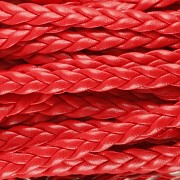 Imitace pletené kůže - červená 5mm