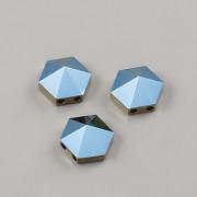 Hexagon Spike dvoudírkové korálky 5060 Swarovski - Metallic Blue - 7,5mm