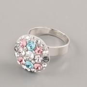 Prsten CRAZY MAMA s kamínky Swarovski Elements 18mm - šedorůžový