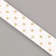 PRUŽENKA - Bílá se zlatými srdíčky - 15mm