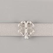 Přívěsek na páskový náramek - ČTYŘLÍSTEK - stříbrný