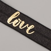 PRUŽENKA - Černá se zlatým LOVE - 15mm