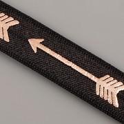 PRUŽENKA - Černá se růžovězlatým ŠÍPEM - 15mm