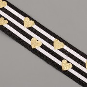 PRUŽENKA - Černobílá pruhovaná se zlatými srdíčky - 15mm
