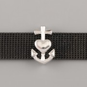 Přívěsek na páskový náramek - KOTVA - stříbrné