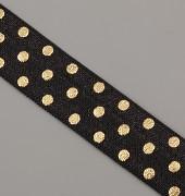 PRUŽENKA - Černá s většími zlatými puntíky - 15mm