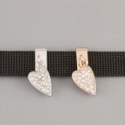 Přívěsek na páskový náramek - BIMBACÍ SRDCE - růžově zlaté
