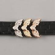 Přívěsek na páskový náramek - KŘÍDLA ANDĚLA S KAMÍNKEM - růžově zlatá