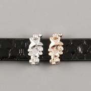 Přívěsek na páskový náramek - HVĚZDIČKY S KAMÍNKY - stříbrné