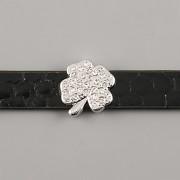 Přívěsek na páskový náramek - KAMÍNKOVÝ ČTYŘLÍSTEK - stříbrný