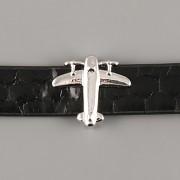 Přívěsek na páskový náramek - LETADLO - stříbrné