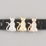 Přívěsek na páskový náramek - SEDÍCÍ KOČKA - růžově zlatá