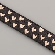 PRUŽENKA - Černá s růžovězlatými srdíčky - 15mm