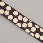PRUŽENKA - Černá se spoustou růžovězlatých puntíků - 15mm