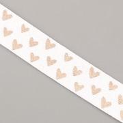 PRUŽENKA - Bílá s růžovězlatými srdíčky - 15mm