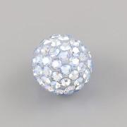Půldírkový KORÁLEK S KAMÍNKY SWAROVSKI - Light Sapphire Shimmer - 10mm