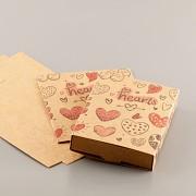 Krabička se srdíčky přírodní - skládací s kartičkou na náušnice