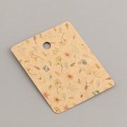 Kartička na náušnice - s lístky a bylinkami - 4x5cm