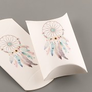 Polštářek s vnitřní kartičkou - s lapačem snů - bílý