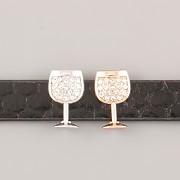 Přívěsek na páskový náramek - MILUJI VÍNO - růžově zlatý