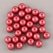 Perličky - 6mm - 50ks - METAL červená