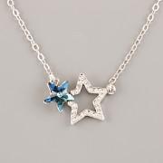 Náhrdelník DVĚ HVĚZDY pro Star Swarovski 4745 - rhodium