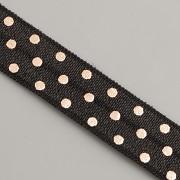 PRUŽENKA - Černá s většími růžovězlatými puntíky - 15mm