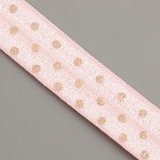 PRUŽENKA - Růžová s růžově zlatými puntíky - 15mm