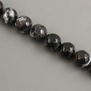 Korálky z minerálů - ACHÁT tmavý fasetovaný - 8mm