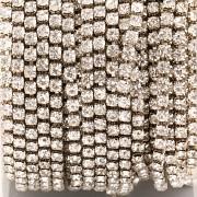 Štrasová metráž - Crystal/Silver - 2,4mm