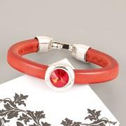 Kožený náramek TANGO pro Swarovski Rivoli 12mm - červený