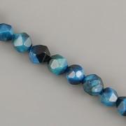 Korálky z minerálů - Broušený Blue Zirkon tygří oko - 6mm