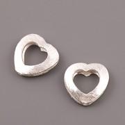 Korálek postříbřený - srdce - 13mm