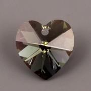 Swarovski Elements přívěsky 6228 – Srdce – Black Diamond AB – 14mm