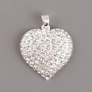Přívěsek srdce baculaté zdobené kamínky Swarovski Elements