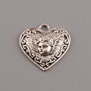 Přívěsek srdce s andělem - kov - platina