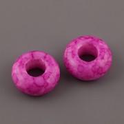 Korálky s velkou dírkou - mramor - Růžová ostrá