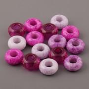 Korálky s velkou dírkou - Růžovo-fialový mix