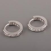 Náušnicový kroužek pro 2 v 1 - tenký s kamínky - Ag925 rhodiované