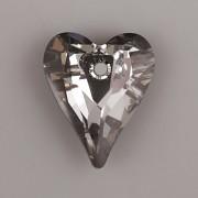 Swarovski Elements přívěsky 6240 – Srdce divoké – Silver Night – 17mm