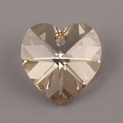 Swarovski Elements přívěsky 6228 – Srdce – Golden Shadow – 18x17,5mm