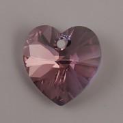 Swarovski Elements přívěsky 6228 – Srdce – Light Rose Blue Shade – 14mm